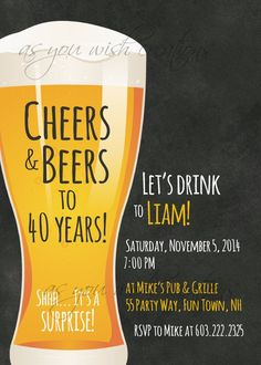 40th Birthday Party Invitations for Men, Chalkboard Invitation, Cheers and Beers…