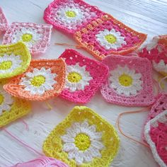 Hot pink and yellow grannies for spring