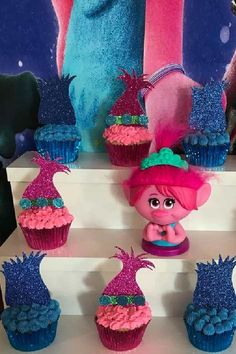 Check out this fun and colorful Trolls birthday party! The cupcakes are so fantastic!! See more party ideas and share yours at CatchMyParty.com Trolls Birthday Party, Troll Party, Girl Birthday, Birthday Parties, Birthday Cake, Vanilla Cupcakes, Chocolate Cupcakes, Troll Cupcakes, Cupcake Images