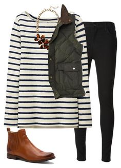"""preppy-ish vest"" by tex-prep ❤ liked on Polyvore featuring J Brand, Uniqlo, Frye, J.Crew and Barbour"