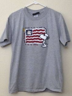 Adult Small Medium 4th of July Snoopy Collectible Vintage 1990s T shirt  American Flag Pride Gray Short Sleeve d4e53dd01