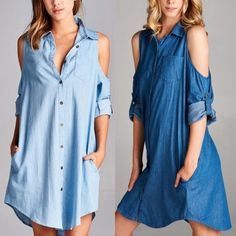 CARABELLE open shoulder denim shirt dress - BLUE Light denim (all sizes) & med denim size L only  Solid, denim shirt dress featuring an open shoulder design with button tabs & pockets. Unlined! Non-sheer. Lightweight.   NO TRADE, PRICE FIRM Bellanblue Dresses