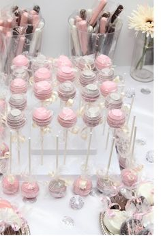Bubbles and Bliss Bridal Shower - pink and grey cake pops - - Bridal Shower Ideas - - Navy Bridal Shower, Grey Baby Shower, Baby Shower Cake Pops, Bridal Shower Rustic, Hot Pink Cakes, Pink Cake Pops, Princess Birthday Party Decorations, Girl Baby Shower Decorations, Party Themes