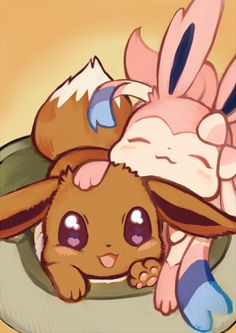 Awww so kawaii~ #Eevee #Eeveelutions #Pokemon