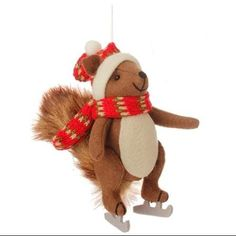 "7.75"" Country Cabin Stuffed Animal Squirrel On Ice Skates with a Red Scarf Christmas Figure Ornament - Walmart.com"