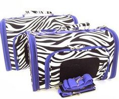 Sturdy Canvas Zebra Print Pet Carrier 2 Piece Set w/ Carry Straps for Dog or Cat Purple Trim: $68.99