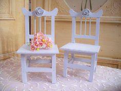 Shabby White Roses Miniature Chairs