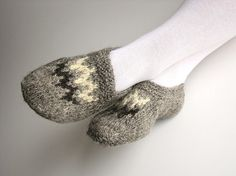 Hand Knitted Women Slippers - Home Comfort - Natural Organic Clothing - Handspun Undyed Wool Yarn