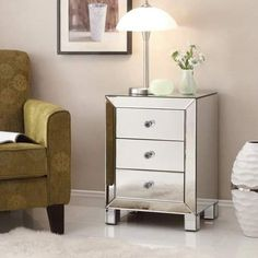 Ave Six AVE-SIX Reflections Accent Table with Silver Mirror Finish