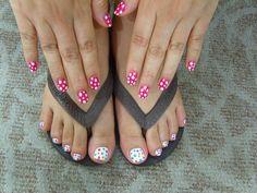 polka dot nails and toe nails White Nail Designs, Toe Nail Designs, Nail Polish Designs, Beautiful Nail Designs, Nails Design, Pink White Nails, White Nail Art, Toe Nail Art, Toe Nails