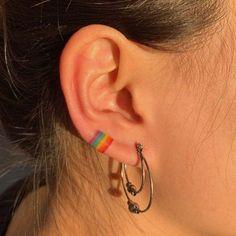 rainbow flag ear tattoo T.N tattoo on. - tiny tattooTiny pride rainbow flag ear tattoo T.N tattoo on. - tiny tattoopride rainbow flag ear tattoo T.N tattoo on. - tiny tattooTiny pride rainbow flag ear tattoo T.N tattoo on. Form Tattoo, Tan Tattoo, Tattoo Style, Shape Tattoo, Glow Tattoo, Grunge Tattoo, Mini Tattoos, Body Art Tattoos, Cool Tattoos