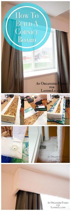 Pretty Do it Yourself Custom Upholstered Window Treatment Headers that add to your decor with or without curtains!  HOW TO BUILD A DIY CORNICE BOARD (Step by Step Instructions Tutorial)