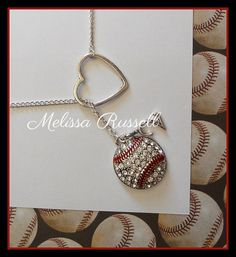 Baseball Lariat Necklace with Rhinestones Heart and Number