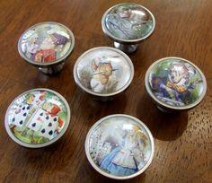 ALICE IN WONDERLAND Knobs - Set of 6 Glass Domed Photo Cabinet Knobs / Dresser Knobs / Pulls - You choose knob base finish & Screw Length