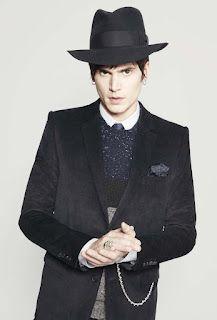 Velvet jacket, hat, jumper, pocket square, ring and pocket watch chain.  #kooples #dandy
