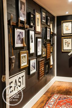 oliver and rust || black shiplap, persian runner, gallery wall basement hallway
