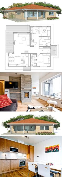 Small House with three bedrooms. Floor Plan from ConceptHome.com
