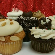 Amaretto & Pignoli , Black Forest, Gingerbread Cannoli, and Peppermint Red Velvet Cupcakes - just in time for the holidays!