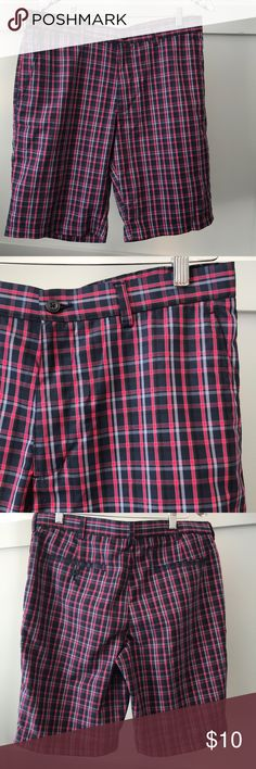 PGA tour men's golf shorts plaid red blue navy 34 EUC.  Excellent used condition.  Very lightly worn.  Size 34. 100% polyester. Flat front.  Possibly non-iron, but I'm not positive. Minimal signs of wear pga golf Shorts Flat Front