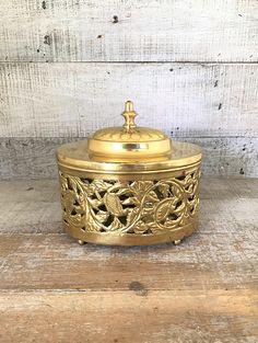Brass Box Large Brass Container Vintage Brass Trinket Box