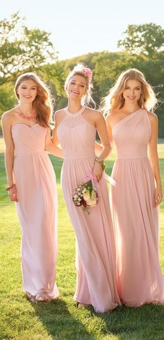 Are you looking for the perfect bridesmaids dresses to compliment your oh so romantic bridal gown? If so, you must have your girls wear this floor-length bridesmaid dress! This light pink gorgeous sleeveless dress is complete with a pleated bodice, side p Pink Bridesmaid Dresses Long, A Line Prom Dresses, Wedding Bridesmaids, Cheap Dresses, Junior Bridesmaids, Prom Gowns, Formal Dresses, Evening Dresses For Weddings, Wedding Party Dresses