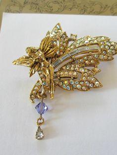 Vintage KIRKS FOLLY Golden Fairy Sitting on AB Rhinestone Leaf Pin Brooch