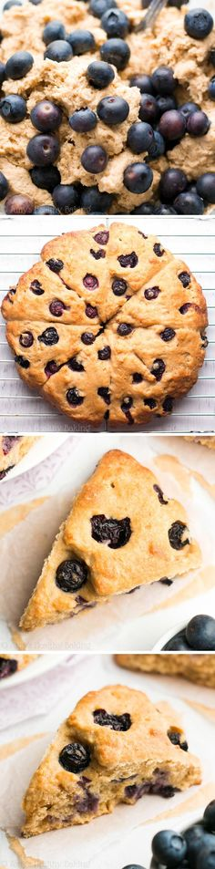 The Ultimate Healthy Blueberry Scones -- so easy, supremely tender & nearly of protein! Ready in just 30 minutes! Healthy Scones, Healthy Muffin Recipes, Healthy Deserts, Healthy Cookies, Healthy Dessert Recipes, Healthy Sweets, Healthy Baking, Just Desserts, Breakfast Recipes
