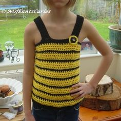 Bumble Bee Top, Girl's Crocheted Strappy top for Slim child. £14.00 Crochet Girls, Hand Crochet, Crochet Top, Old Models, Beautiful Gifts, Crochet Fashion, Black N Yellow, Child, Slim
