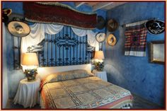 This is the charros room at a B&B in an Miguel de Allende, Mexico. Again-Blue walls!