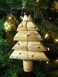 Wine Cork Christmas Tree Ornament - Large Size. $12.00, via Etsy.    Could totally make this myself too.