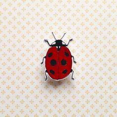 Illustrated ladybird shrink plastic brooch/pin