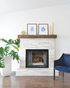 fireplace makeover: marble mosaic and diy mantel