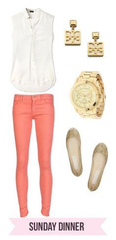 -coral pants -white button down tank -gold flats