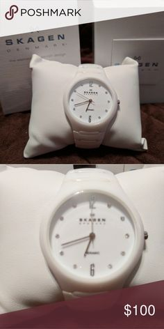 Skagen Ladies White Ceramic Watch White ceramic watch with crystals markimg the time. 37mm. Brand new battery. Skagen Accessories Watches