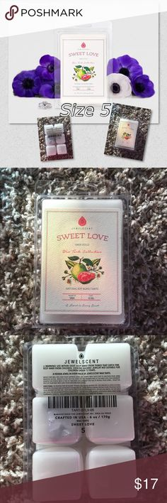 "JewelScent wax tart ""Sweet Love"" PRICE IS FIRM! NO TRADES! pink guava, mandarin and cassis form a fruity base for this bright and lively aroma! Notes of lotus blossom and jasmine are laced with sheer musk and patchouli for a fragrance that captures the essence of sweet love. Each pack of wax tarts contains one hidden jewel valued $15 to $7500 *Actual ring may not be the same as shown in picture. **Wax warmer not included. Specifications Ingredients	Natural soy blend Volume	6 oz. Produced…"