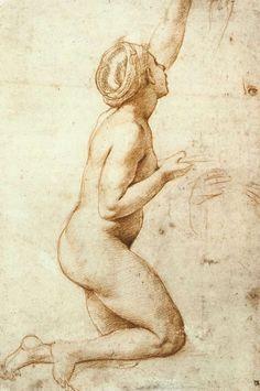 Rafaello Sanzio: Kneeling Nude Woman c. 1518 Red chalk, stylus underdrawing on paper