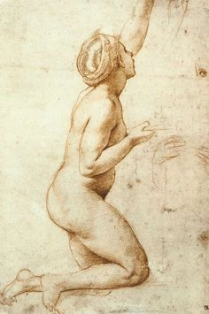RAFFAELLO Sanzio  Kneeling Nude Woman  c. 1518  Red chalk, stylus underdrawing on paper, 279 x 187 mm