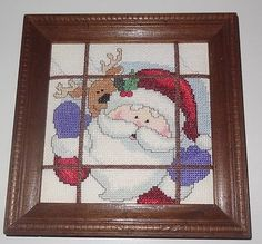 New-Finished-Cross-Stitch-framed-picture-Santa-Clause-Reindeer-Window-Christmas
