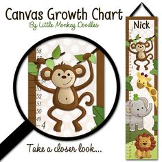 Canvas GROWTH CHART Jungle Safari Animals in Brown Babies Bedroom Baby Nursery Wall Art. $40.00, via Etsy.