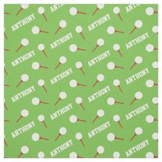 Golf tees red name green pattern fabric