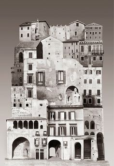 Large scale architectural collages by Anastasia Savinova. Each collage is meant… Collage Foto, Collage Kunst, Art Du Collage, City Collage, Collage Design, Collage Architecture, Architecture Drawings, Architecture Student, Landscape Architecture