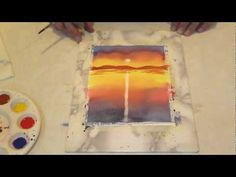 How to: Water color sunset Watercolor Video, Watercolor Projects, Watercolour Tutorials, Watercolor Drawing, Watercolor Paintings, Watercolour Techniques, Watercolor Sunset, Watercolours, Painting Lessons