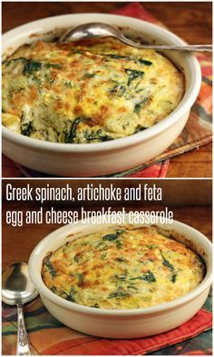 Greek spinach, artichoke and feta egg and cheese casserole recipe (for breakfast or supper). #breakfast #eggs