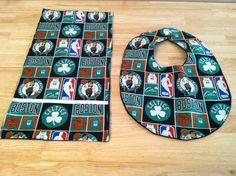 Baby Bib and Burp Cloth set for baby boy Boston Celtics Basketball print. $10.00, via Etsy.