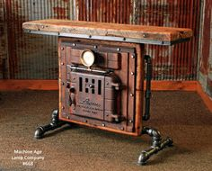 Antique Steampunk Industrial Boiler Door Table Stand, Reclaimed Wood T