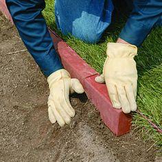 Classic red brick edging-Front of Porch Garden Edging Stones, Yard Edging, Brick Edging, Garden Borders, Brick Landscape Edging, Brick Flower Bed, Stone Flower Beds, Garden Edging Ideas Australia, Front Yard Design