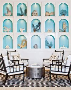 Oooh, one or two of these alcoves at the beachhouse would provide a space for beach art created on every visit. (Shell sculptures and the like). Photograph the art and return it to the sea at clean-up. A revolving sea art gallery!