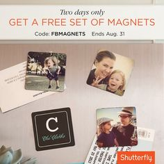 Celebrate the last weekend of summer with a free set of photo magnets. Perfect for your Instagram shots or any favorite moments. Use code: FBMAGNETS. Ends 8/31.     Offer expires 08/31/2013 (11:59 P.M. PT). Offer is good for one free set of 2x2 magnet at shutterfly.com. Offer cannot be redeemed more than once per account and/or billing address. Taxes, shipping and handling will apply. Not valid on other sizes.