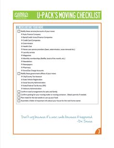 Moving Checklist  Helpful Tips