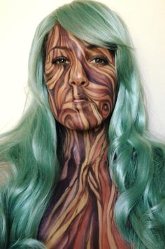 Tree Makeup - would need to tone it down for Faire Fairy Makeup, Mermaid Makeup, Makeup Art, Sfx Makeup, Fantasy Hair, Fantasy Makeup, Tree Costume, Ivy Costume, High Fashion Makeup
